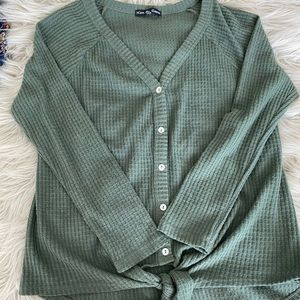 NWOT Tie Front Button Down Top